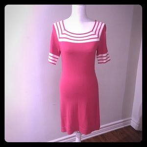 Dresses & Skirts - Pink and white knit dress